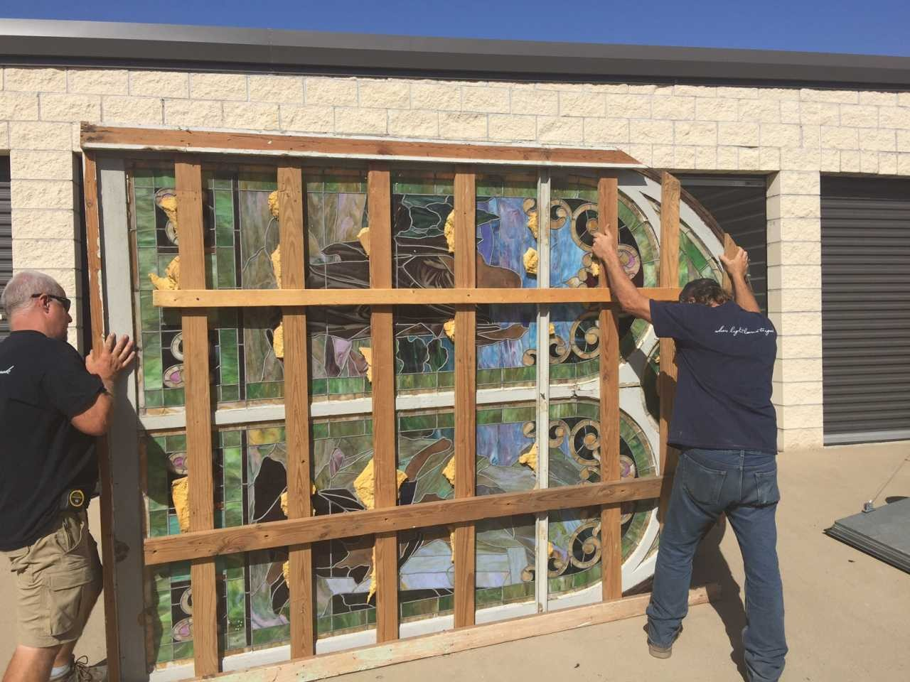Stained Glass being moved from storage in Forney to shop for renovation, August 2016