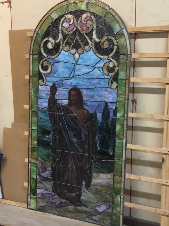 One side of the stained glass after renovation before installation